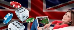 Dice and chips being played on a laptop with the Union Jack flag